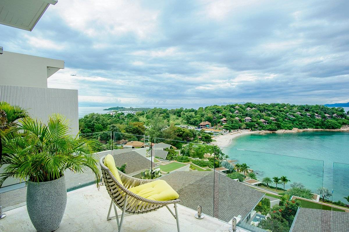 "Villa ""4 bedroom Bayside Villa with fantastic sea views "" 4 bedrooms, 5 showers, gym, private pool, sea view, walking distance to the beach, district Plai Laem, sale for 23 250 000 baht"