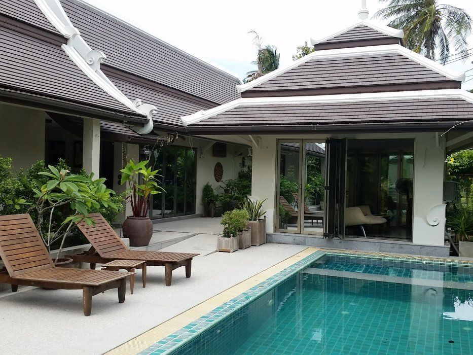 "Villa ""Villa in a tropical garden (Bang Kao)"" 3 bedrooms, facilities for disabled, garden, private pool, district Bang Kao, rent from 8 000 baht per day"