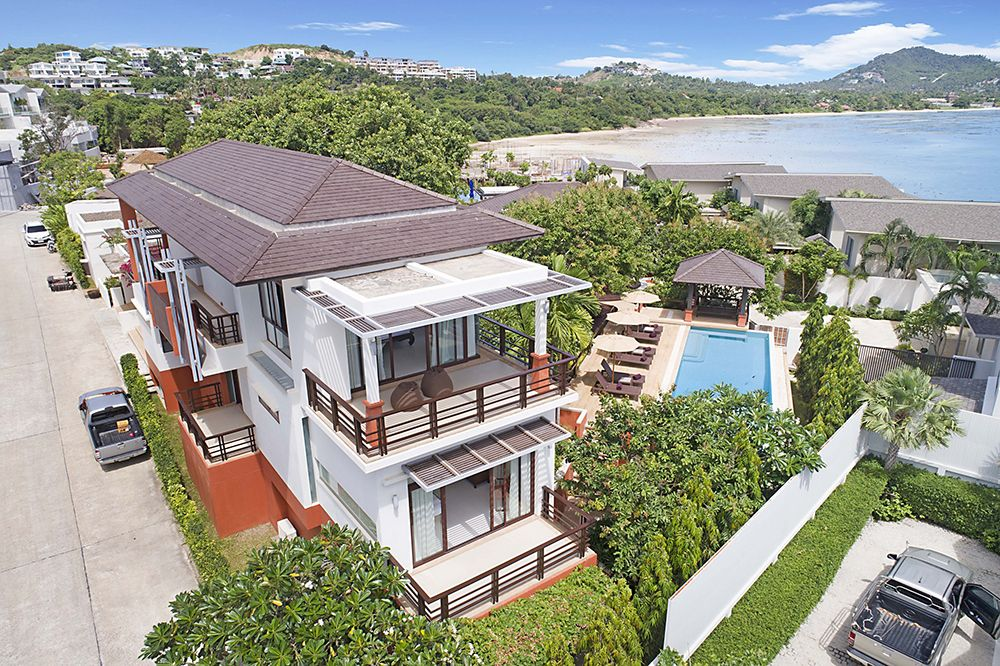 "Villa ""Six Hills 4 Bedroom Villa with Panoramic View of the Gulf of Thailand"" 4 bedrooms, 7 showers, daily breakfast, garden, gym, private pool, sea view, walking distance to the beach, district Plai Laem, rent from 12 500 baht per day"