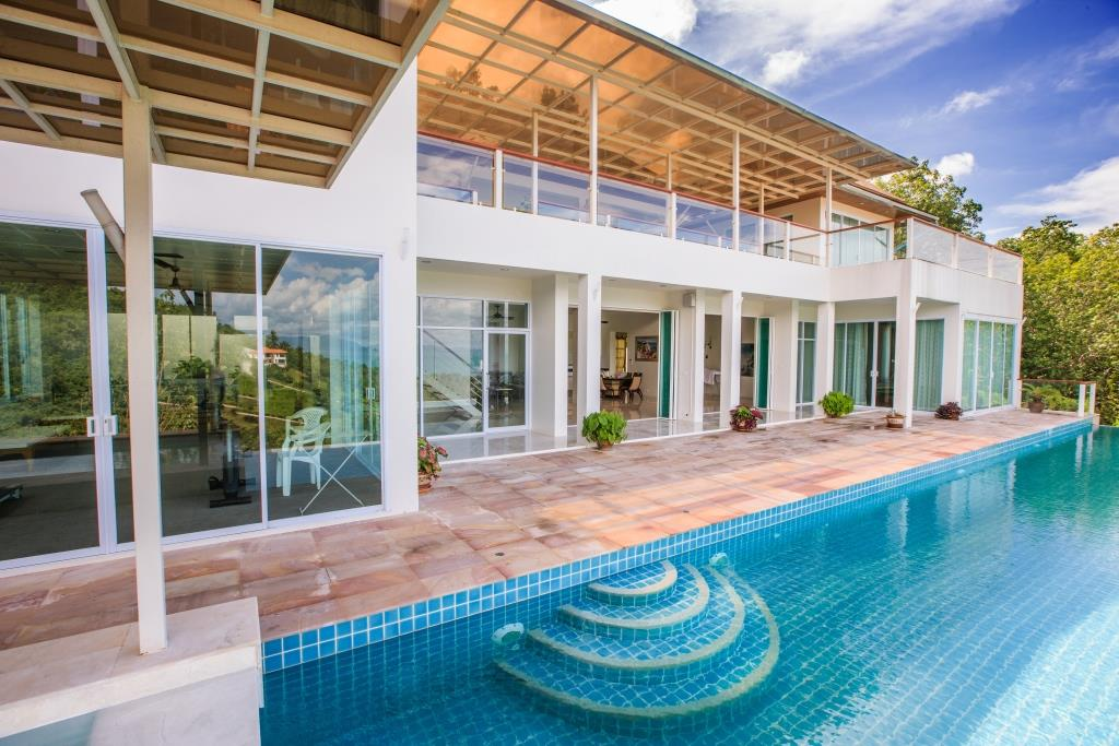 "Villa ""Deluxe White Villa 800m from Bang Por Beach"" 5 bedrooms, 5 showers, garden, private pool, sea view, district Bang Por, sale for 23 000 000 baht"