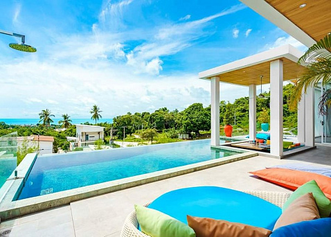 "Villa ""Villa 6 – Spacious Seaview Three Bedroom Pool Villa in Chaweng Hills"" 3 bedrooms, 2 showers, private pool, sea view, district Chaweng Noi, sale for 13 900 000 baht"