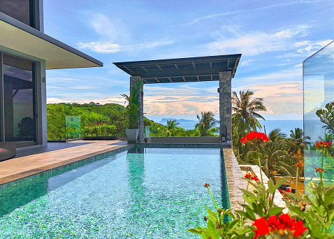 "Villa ""Exceptional 6 bedroom hilltop Skyline Villa in Bangpor for sale"" 6 bedrooms, 6 showers, garden, private pool, sea view, district Bang Por, sale for 28 800 000 baht"