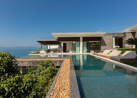 "Villa ""World renowned designer four bedroom seaview villa for sale in Koh Samui"" 4 bedrooms, 5 showers, garden, private pool, sea view, district Bang Por, sale for 75 000 000 baht"