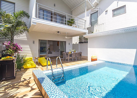 "Villa ""3-bedroom villa Limoncello in Baan Tai for rent"" 3 bedrooms, 2 showers, private pool, walking distance to the beach, district Baan Tai, rent from 350 baht per day"