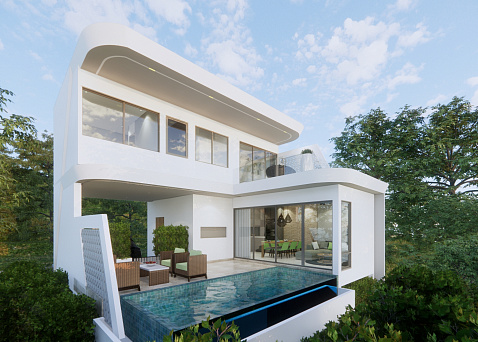 "Villas ""XV Villas (Type C) – Modern villas for sale in Chaweng Noi"" 3 bedrooms, private pool, walking distance to the beach, district Chaweng Noi, sale for 7 900 000 baht"