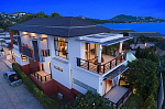 Six Hills 4 Bedroom Villa with Panoramic View of the Gulf of Thailand: Six Hills villa for rent, night view